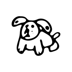 Hand drawn toy dog doodle. Sketch children's toy icon. Decoration element. Isolated on white background. Vector illustration