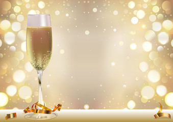 Golden Bokeh Background with Champagne Glass and Golden Confetti - Happy New Year or Holiday or Festive or Celebration Illustration, Vector