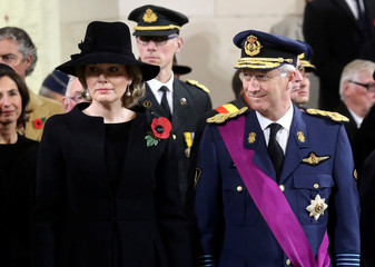Belgium King Philippe and Queen Mathilde attend the Last Post ceremony during celebrations marking the 100th anniversary of the end of the First World War at the Menin Gate in Ypres