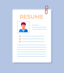 Resume application form with personal data and photo. Recruitment hiring head hunting human resources concept isolated icon. Vector flat cartoon isolated illustration