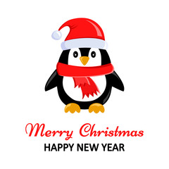 Christmas greeting card with cute penguin. Vector illustration