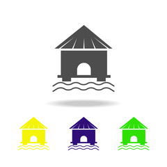 bungalow multicolored icons. Element of beach holidays multicolored icons can be used for web, logo, mobile app, UI, UX