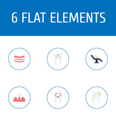 Set of dental icons flat style symbols with denture, parodontosis, tooth and other icons for your web mobile app logo design.