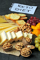 Set of cheeses, berries, nuts and snacks. Keto snack. A note with the inscription Keto Diet.