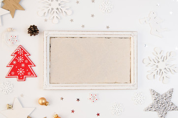 Merry Christmas and new year frame mockup. Christmas deer, silver star, snowflakes and Red Christmas tree. Flatlay mockup 2018