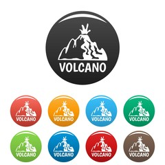 Active volcano icons set 9 color vector isolated on white for any design