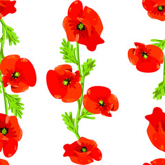 Seamless pattern with red poppy flowers vector eps 10
