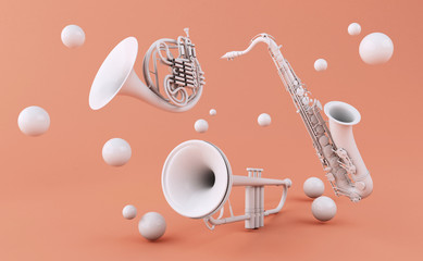 3d White musical instruments Wall mural
