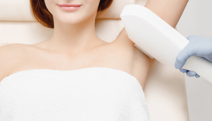 Smooth skin woman under arms. Laser hair removal