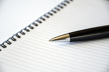 Representative pen laying on a blank note book . Close-up view