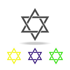 Judaism Star of David sign multicolored icon. Detailed Judaism Star of David icon can be used for web, logo, mobile app, UI, UX