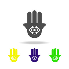 Hamsa hand sign multicolored icon. Detailed Hamsa hand icon can be used for web, logo, mobile app, UI, UX