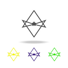 Thelema Unicursal hexagram sign multicolored icon. Detailed Thelema Unicursal hexagram icon can be used for web, logo, mobile app, UI, UX