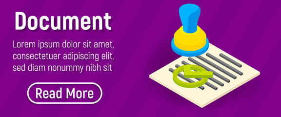 Document concept banner. Isometric banner of document vector concept for web, giftcard and postcard