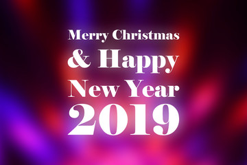Merry Christmas and Happy New Year 2019 illustration. Red violet christmas background. Shiny Christmas card