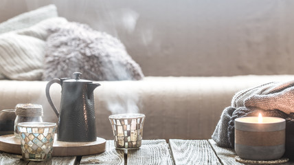 still life from home interior on wooden background
