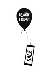 Aufsteigender Luftballon mit dem Text black Friday an dem eine Karte mit Sale hängt.