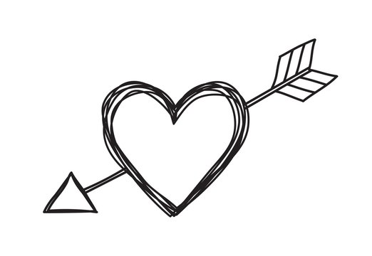 Heart and arrow shaped tangled grungy scribble