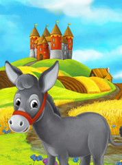 Cartoon happy farm scene with donkey and castle in the background - illustration for children