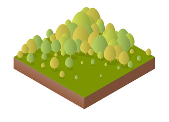 Nature forest landscape of isometric