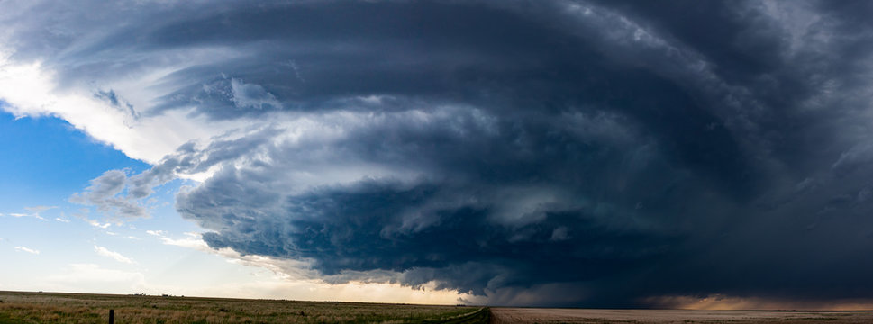 Woodrow, CO / United States - May 25, 2016: Panorama of a supercell thunderstorm in the Great Plains that later produced a tornado.