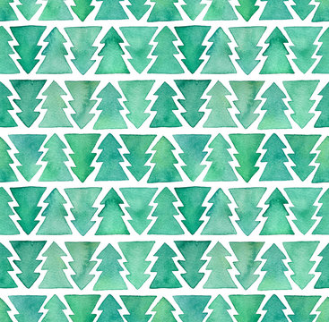 Seamless repeating pattern of green watercolour fir trees. Festive decorative handmade backdrop with cute xmas symbol. Hand drawn water color graphic illustration for stylish design and decoration.