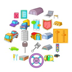 Garage icons set. Cartoon set of 25 garage vector icons for web isolated on white background