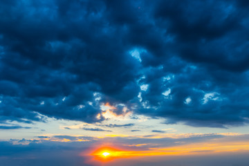 dramatic cloudy sky at the sunset, nature background