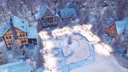 Wall Mural - Overhead view of snowbound european township high in snowy alpine mountains with half-timbered houses and decorated Christmas tree at snowfall winter night. 3D animation for Xmas or New Year holidays