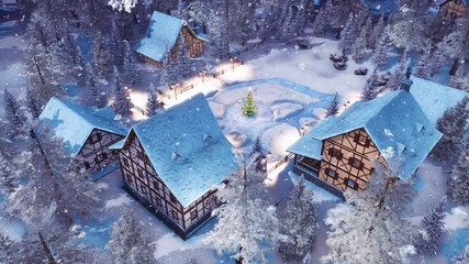 Wall Mural - Top down view of cozy snow covered european village high in snowy alpine mountains with half-timbered houses and decorated Christmas tree at winter night during snowfall. 3D animation rendered in 4K