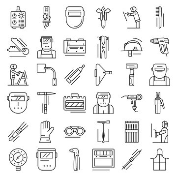 Welder icon set. Outline set of welder vector icons for web design isolated on white background
