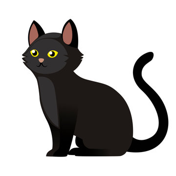 Sitting black cat with yellow eyes. Cute home animal. Cartoon character design. Flat vector illustration isolated on white background