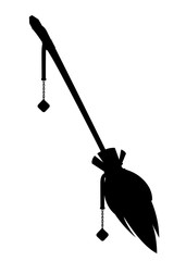 Black silhouette. Magic flying broom. Object for a party for Halloween. Wooden broom with gemstone and feather. Flat vector illustration isolated on white background