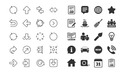 Linear Arrow icons. Set of Download, Synchronize and Recycle signs. Undo, Refresh and Login symbols. Sign out, Next and Upload. Universal Arrow elements. Information, calendar and call phone icons