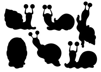 Black silhouette. Collection of different snails. Sea and forest snails. Clam cartoon character design. Flat vector illustration isolated on white background