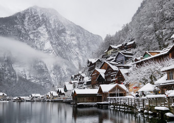 Hallstat village in the Austria. Beautiful village in the mountain valley near lake. Natural winter landsape in Austria