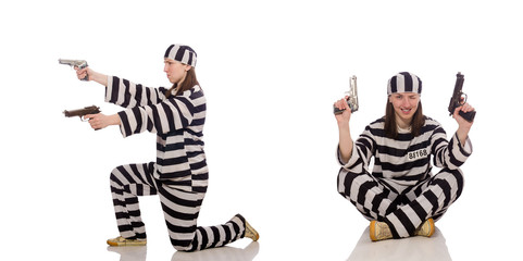 Young woman in prison isolated on white