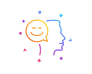 Positive thinking line icon. Human communication symbol. Smile chat sign. Gradient line button. Good mood icon design. Colorful geometric shapes. Vector