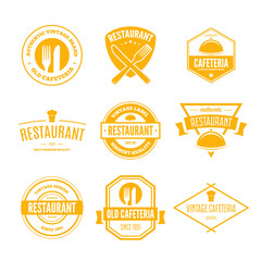 Restaurant Logos, Badges and Labels Design Elements set in vintage style
