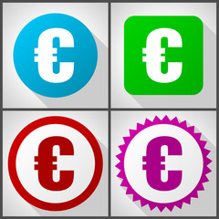 Vector icons with 4 options. Euro flat design icon set easy to edit in eps 10.