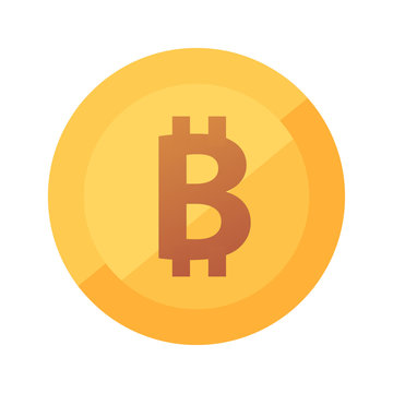 Bitcoin Gold flat icon. Round logo of Cryptocurrency blockchain token - Emblem of Virtual Money.