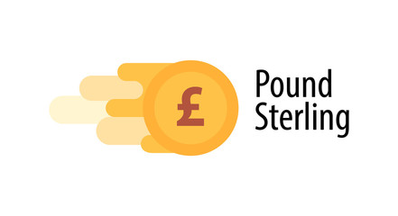 Vector Illustration of British Pound Coin with caption isolated on white