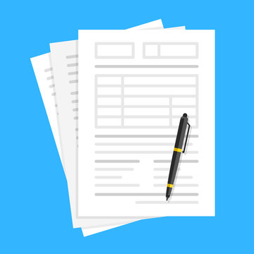 Documents and pen. Filling forms, lot of paper, application form, office work, accounting, paperwork concepts. Flat design. Vector illustration