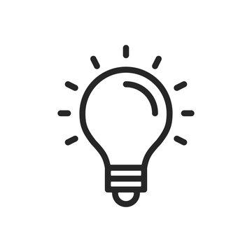 Light bulb line icon. Thin line design. Vector icon
