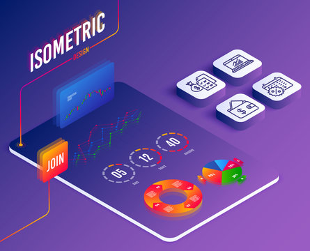 Isometric set of Calendar discounts, Online statistics and Accounting wealth icons. Wallet sign. Shopping, Computer data, Audit report. Affordability. Software or Financial markets. Isometric vector
