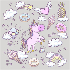 Fashion patch badges with, donuts rainbow, confetti and other elements.Vector background with stickers, pins