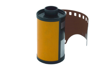 35 mm reel on white background