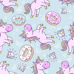 Seamless pattern with unicorns, donut rainbow, confetti, diamond and other elements. Vector background with labels, pins