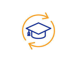 Continuing education line icon. Online education sign. Colorful outline concept. Blue and orange thin line color icon. Continuing education Vector