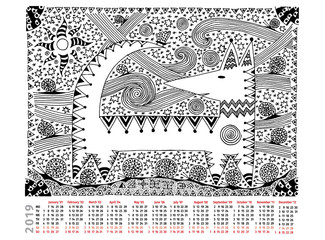 Fantastic picture with calendar 2019. Black and white graphics. The magic dog, hieroglyphs. Manual graphics.